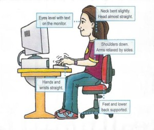 Posture student at computer