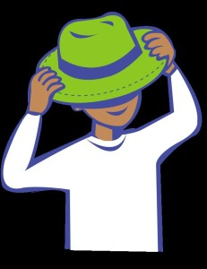 putting on hat